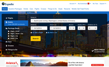 Expedia Homepage screenshot